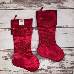 2 beautiful quality red Christmas Stockings